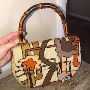 Vintage 70's handmade wooden handle purse
